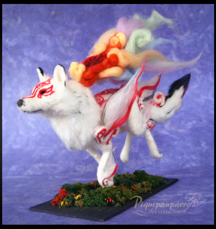 Okami - Needle felted figure by Piquipauparro