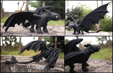 Toothless the Night Fury - Art doll by Piquipauparro