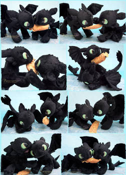 Battle of the Toothless - handmade plushies
