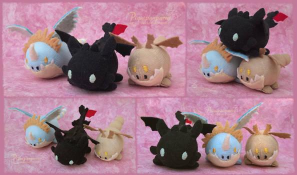 Custom TsumTsum style Toothless, Stormfly, Meatlug