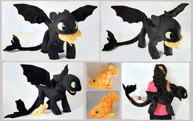 Young Toothless and Fish - handmade Plushie