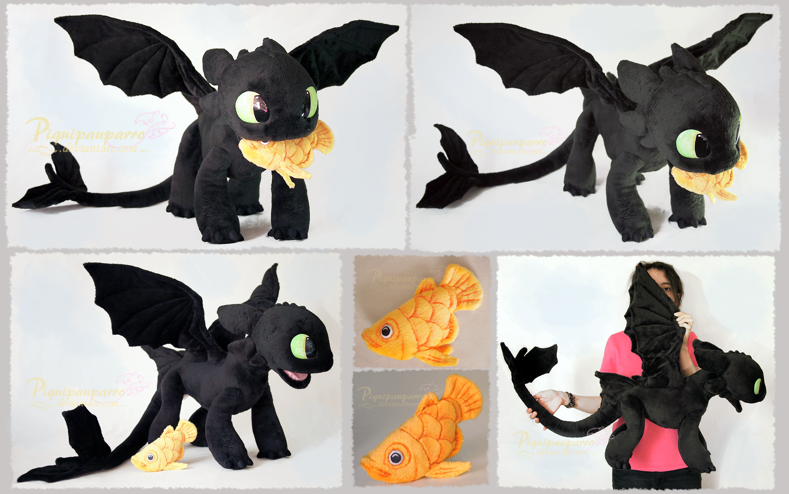 Young Toothless and Fish - handmade Plushie by ... - photo#47