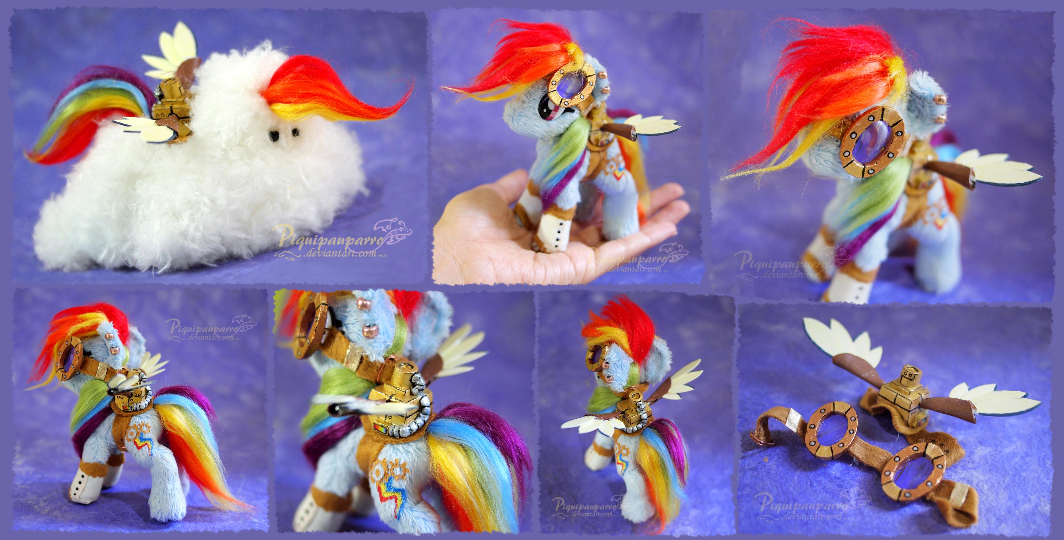 Mini Steampunk Rainbow Dash - Handmade plushie by Piquipauparro