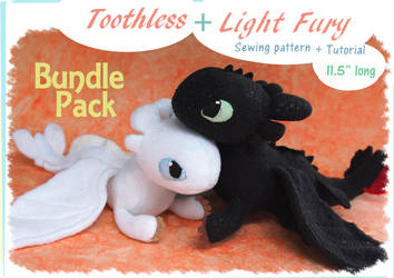 Beanie plushies - Toothless and Light Fury by Piquipauparro