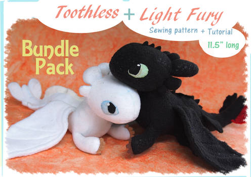 Beanie plushies - Toothless and Light Fury