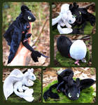 Squishy Toothless and lightfury - handmade plush