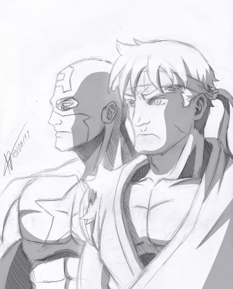 Captain and Ryu by MatheusHQD