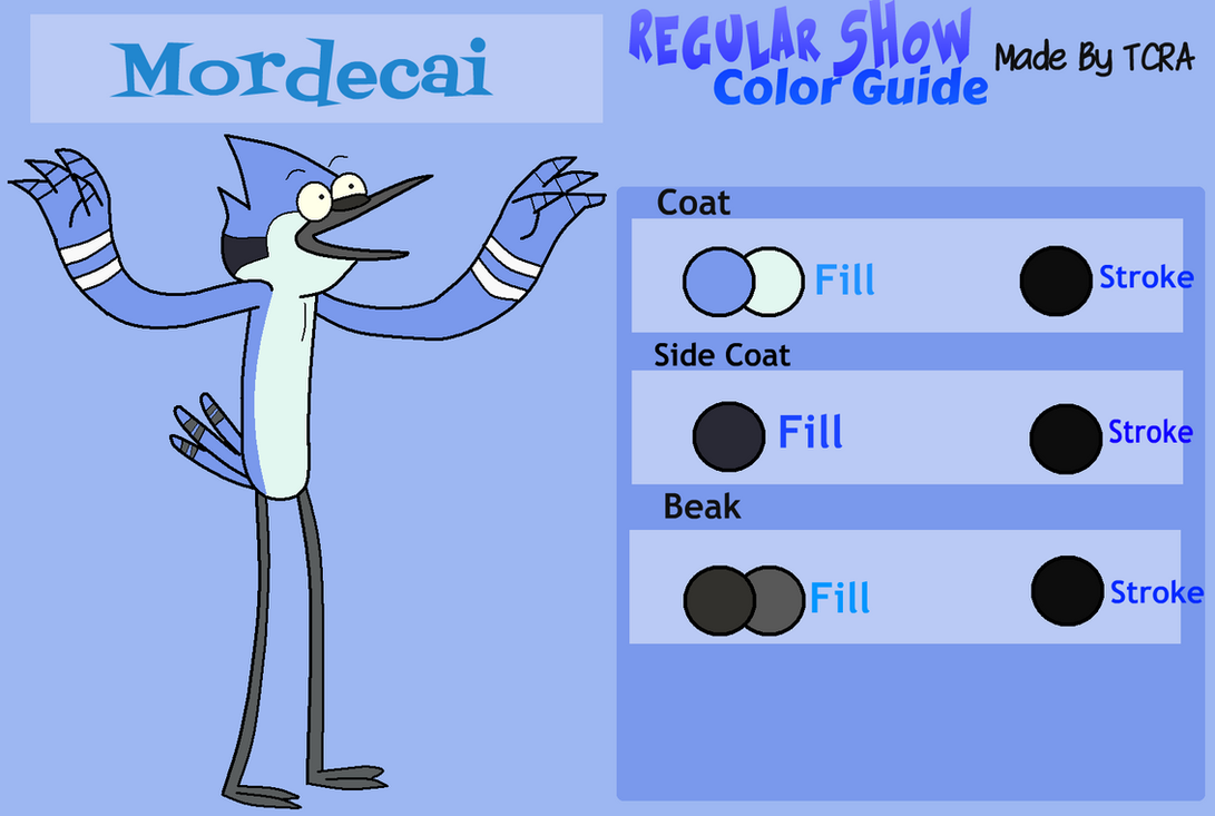 Regular Show Color Guide- Mordecai by TheCrapRightArt on DeviantArt