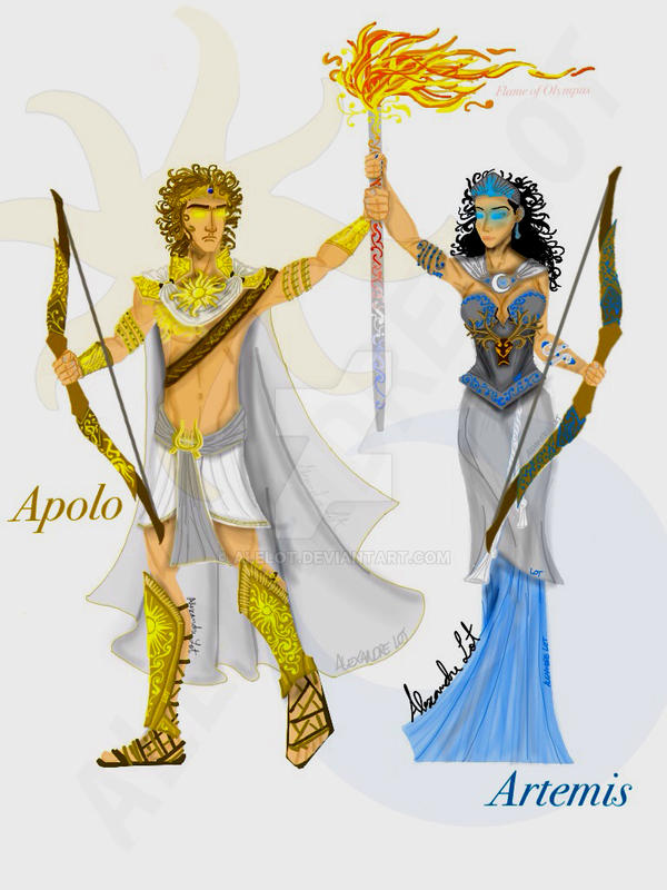 Greek Gods 1 Apollo And Artemis By Alelot On Deviantart