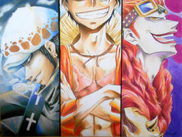 Monkey D. Luffy, Trafalgar Law, Eustass Kidd