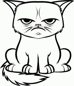Grumpy cat line art