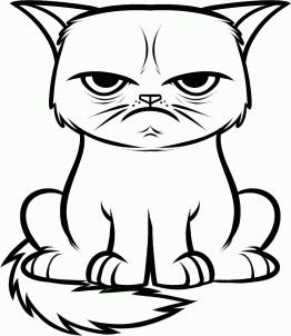 Grumpy cat line art