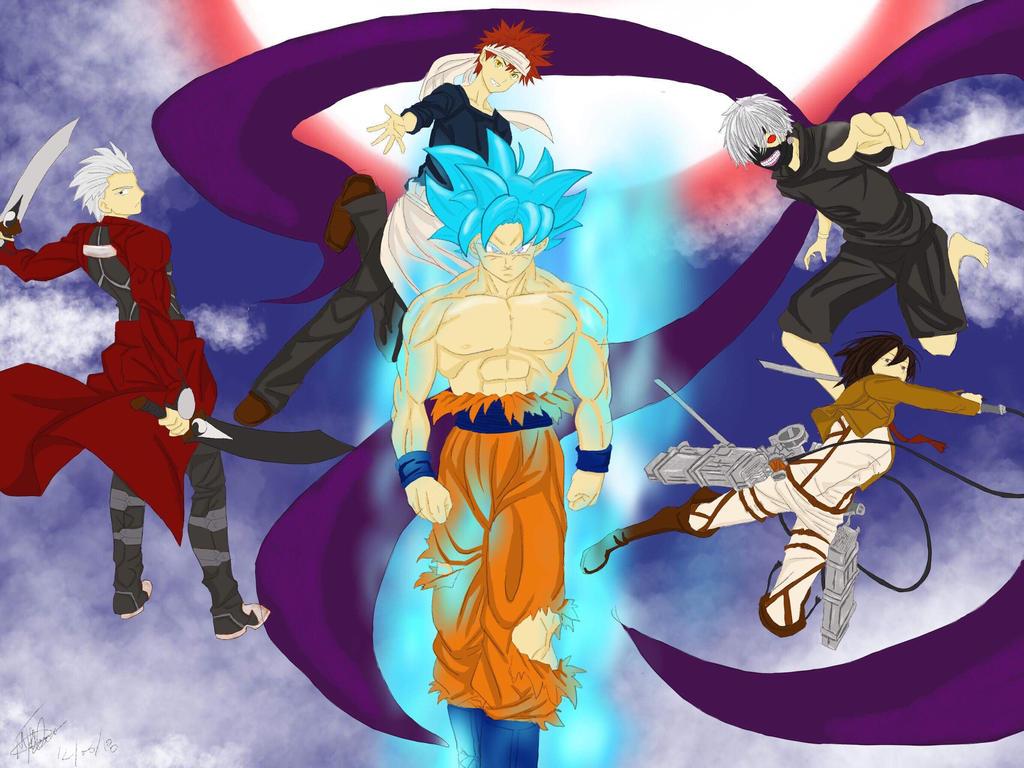 Archer, Soma, Goku, Kaseki , Mikasa  by haaaaaaaaaaaybaby