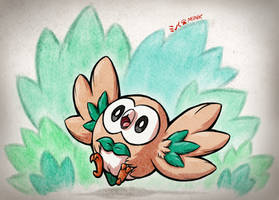 Rowlet Leaffeathers (+Timelapse Video) by Minks-Art