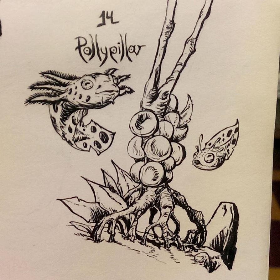 Inktober 14 Pollypillar by butterfrog