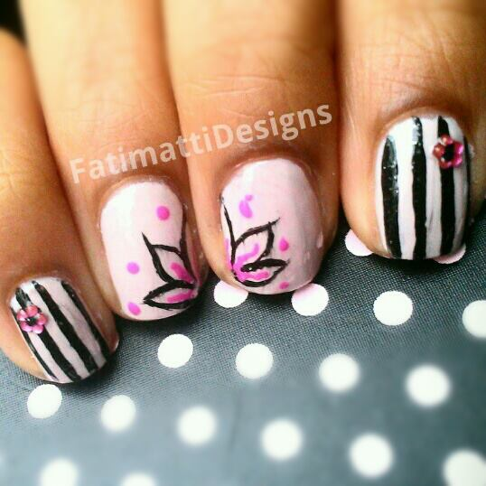 Pink and Black Lotus With Stripes by FatimattiDesigns