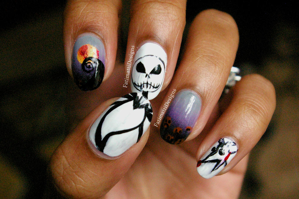 Nightmare Before Christmas Nails by FatimattiDesigns on DeviantArt