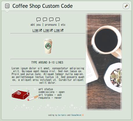 Coffee Shop Custom Box Code (Non-CORE) by cocoatwist