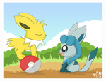 Chibi Jolteon and Glaceon