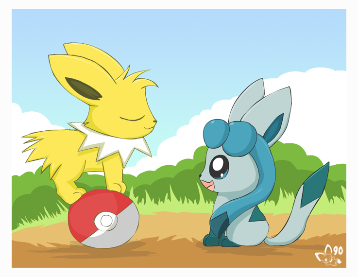 Les Eevee's en version Chibi !  Chibi_Jolteon_and_Glaceon_by_pichu90
