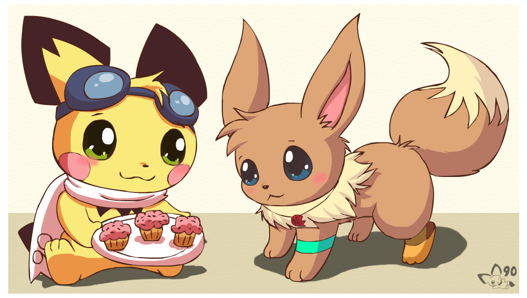 sparks shares with eevee by pichu90 on deviantart