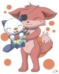 Foxy hugging an oshawott