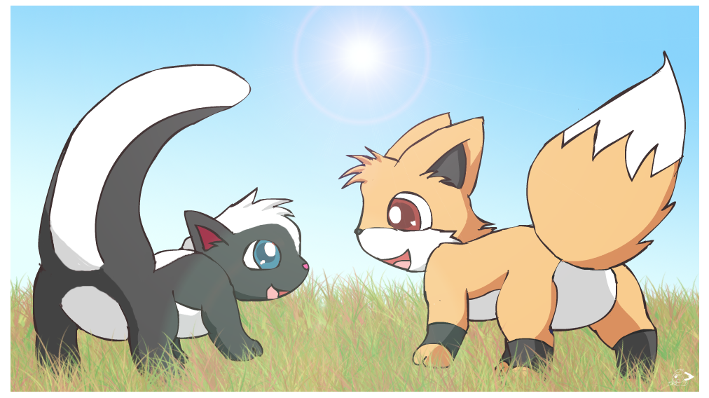 Skurry and Foxy by pichu90