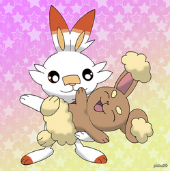Scorbunny and Buneary by pichu90