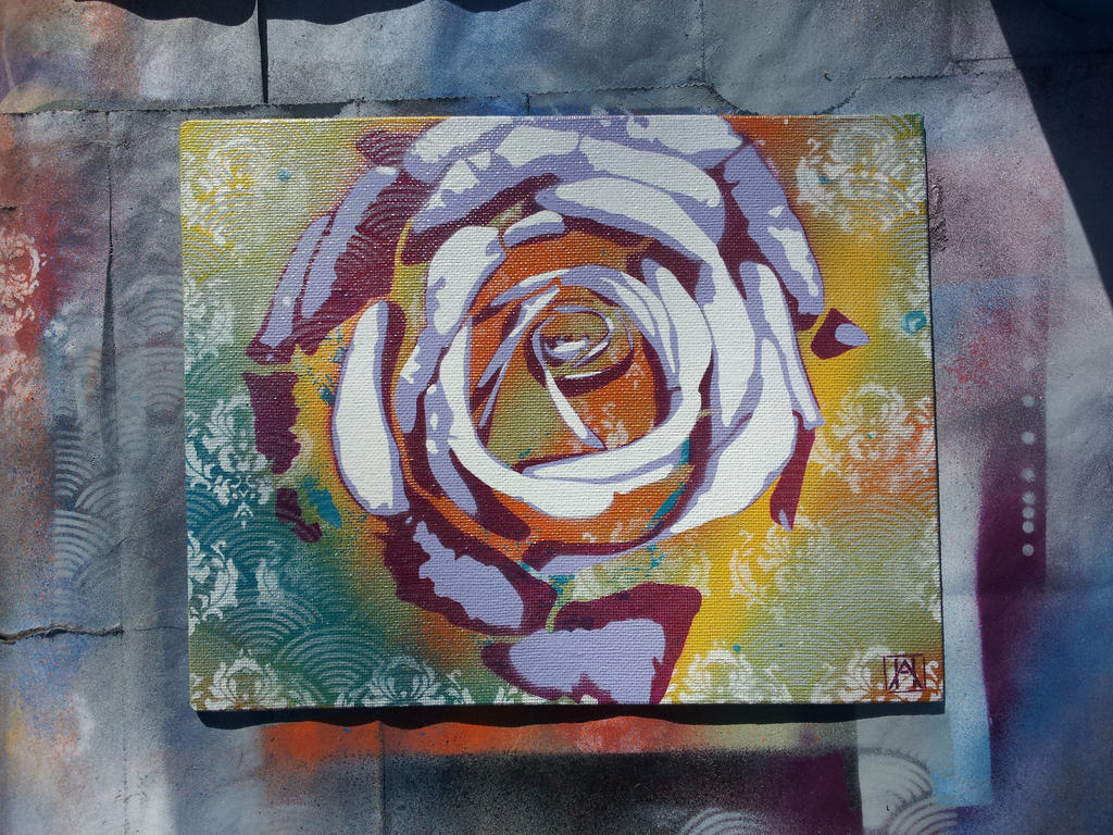Rose multi-layer stencil piece by ahgrafx