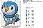 Happy Piplup cross stitch chart