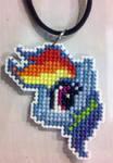 Rainbow Dash cross stitched necklace