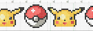 Pikachu And Pokeballs banner pattern