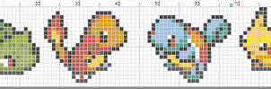 Pokemon banner pattern with starters and Pikachu