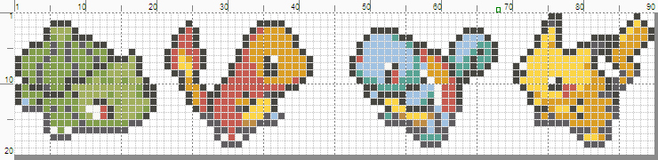 Pokemon banner pattern with starters and Pikachu by starrley