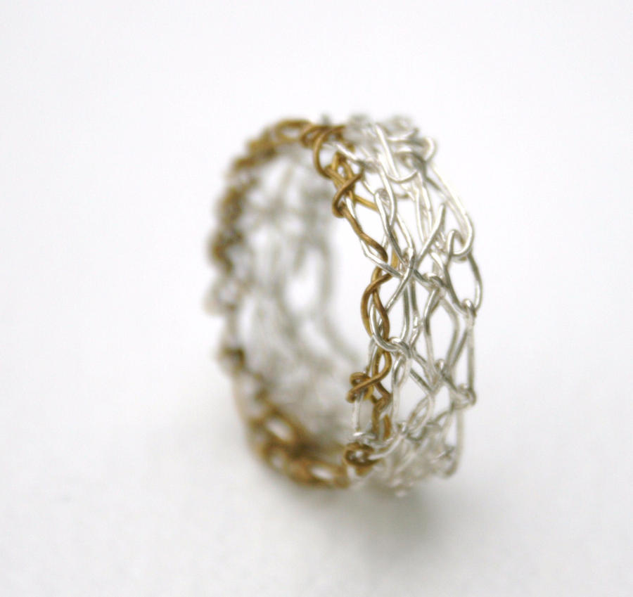 Crochet Ring : Silver Crochet Band Ring by WrappedbyDesign on deviantART