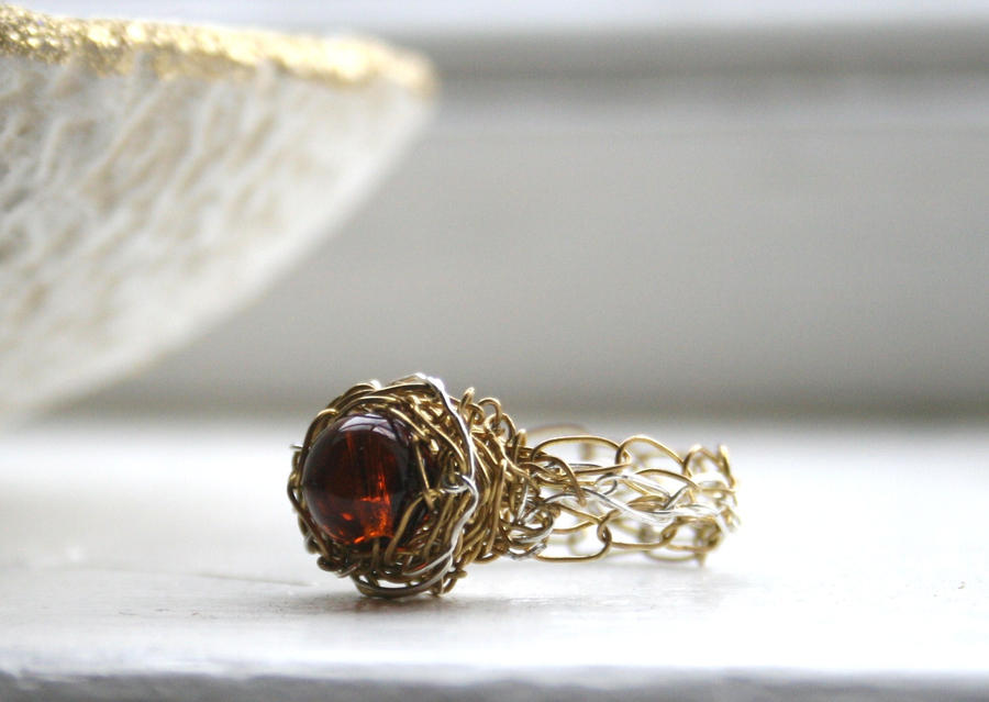 Wire Crochet Amber Ring by WrappedbyDesign on DeviantArt