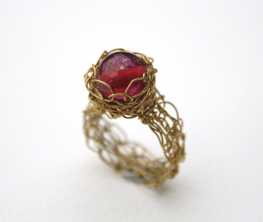 Crochet Ring : Pink Wire Crochet Ring by WrappedbyDesign on DeviantArt