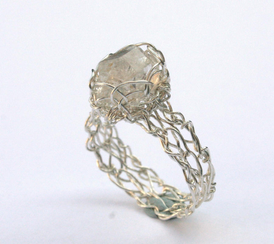 Crochet Ring : Herkimer Diamond Crochet Ring by WrappedbyDesign on DeviantArt