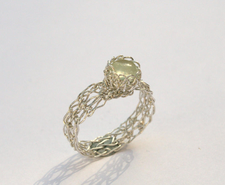 Crochet Ring : Silver Prehnite Crochet Ring by WrappedbyDesign on DeviantArt