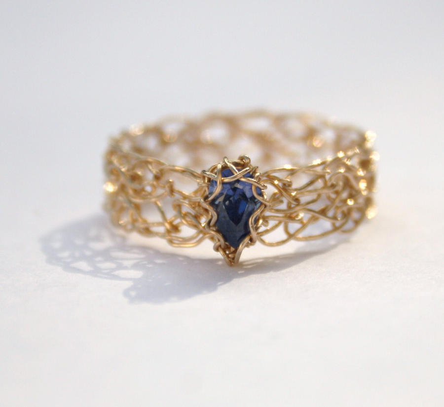 Crochet Ring : Tanzanite CZ Gold Crochet Ring by WrappedbyDesign on DeviantArt
