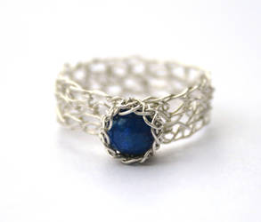 Lapis Lazuli Crochet Ring by WrappedbyDesign