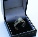 Silver Moonstone Crochet Ring