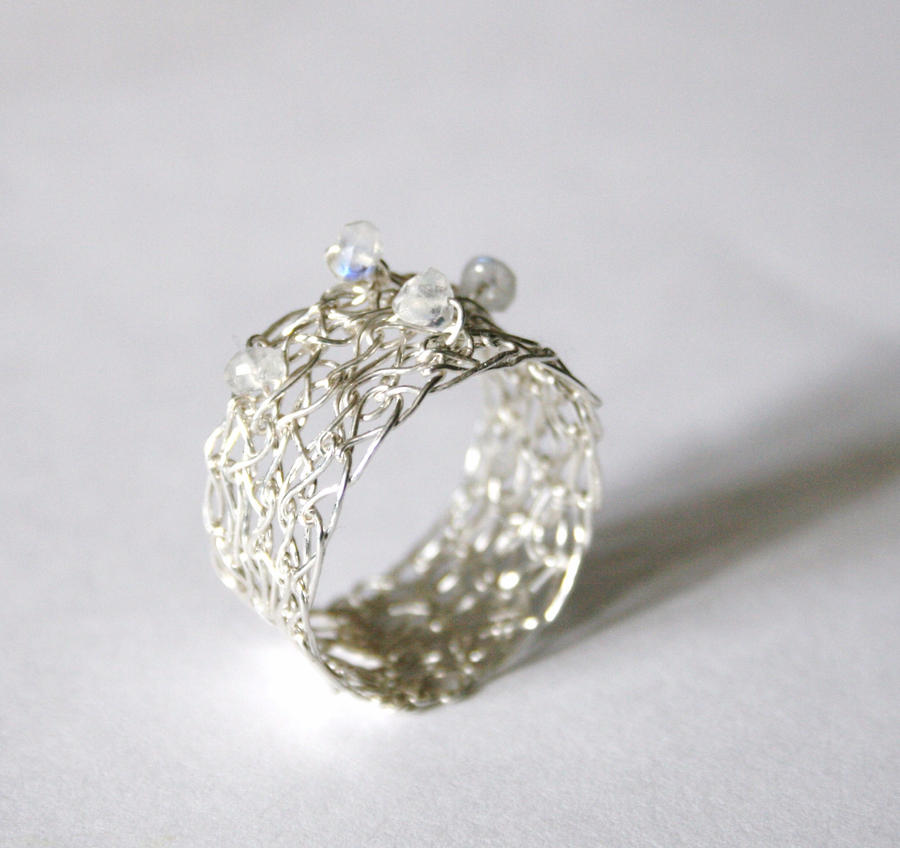 Silver Moonstone Crochet Ring by WrappedbyDesign