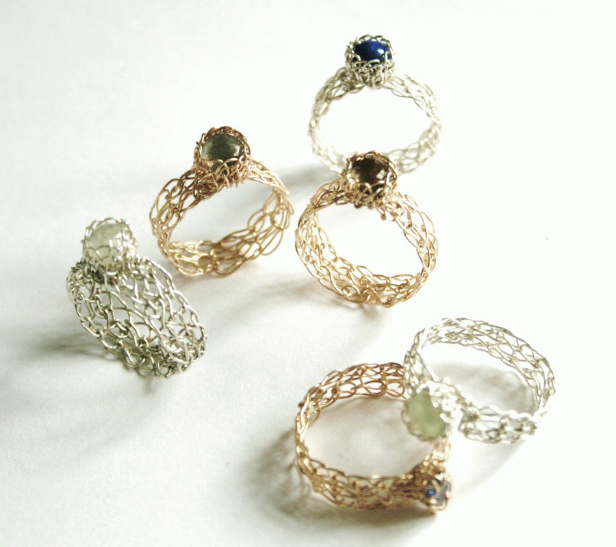 Wire Crochet Rings Handmade by WrappedbyDesign on DeviantArt