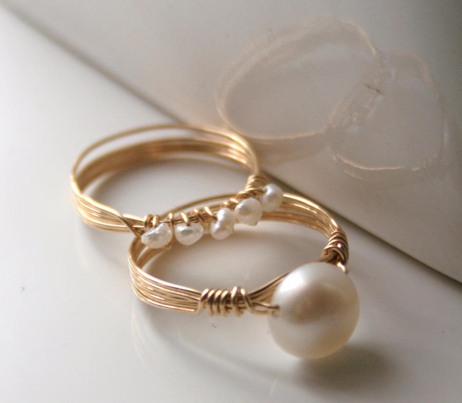 Set Of Gold Pearl Rings By Wrappedbydesign On Deviantart
