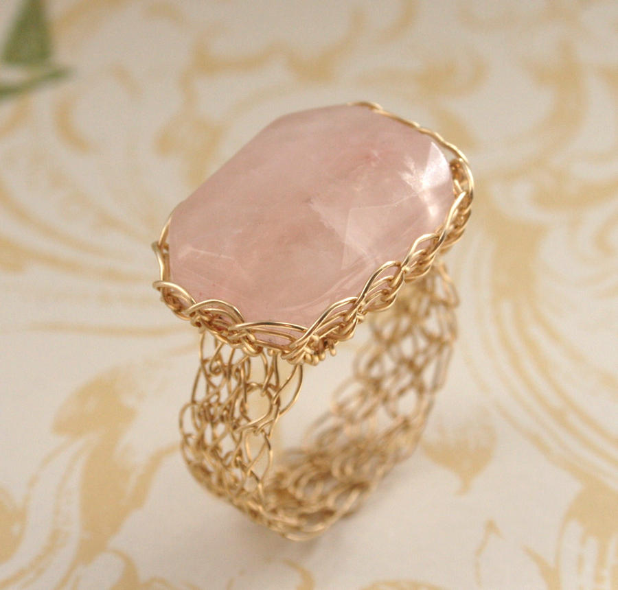 Wire Crochet Quartz Ring by WrappedbyDesign