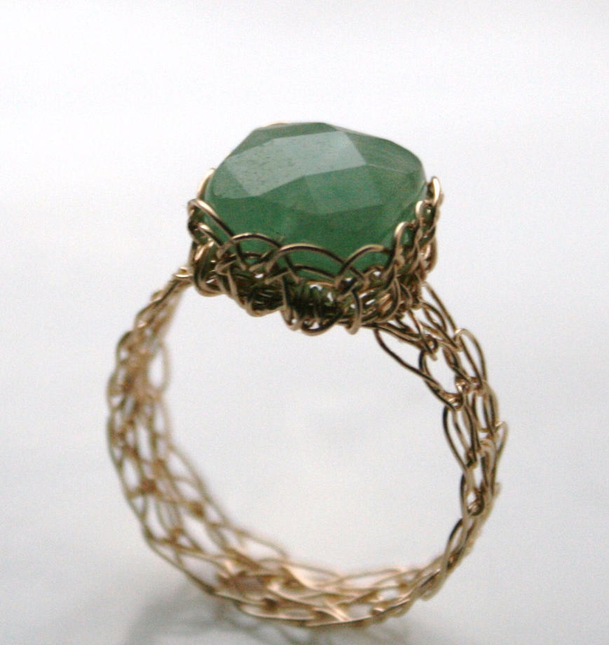 Aventurine Wire Knitted Ring by WrappedbyDesign on DeviantArt
