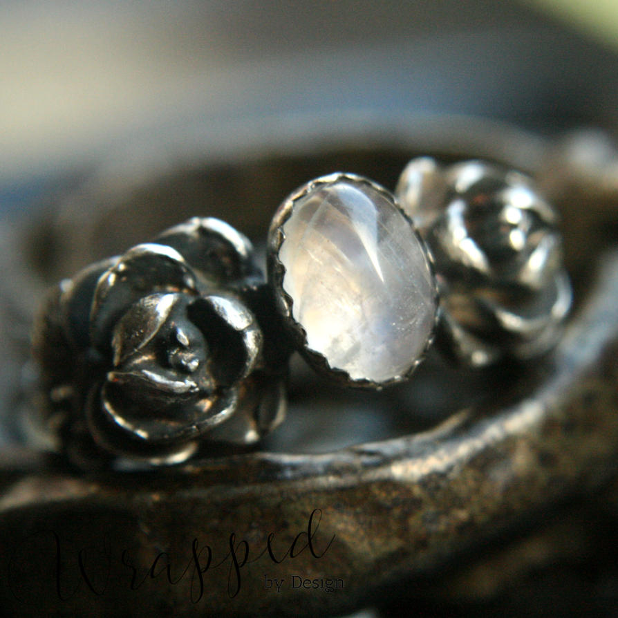 Handmade Moonstone Ring with Roses by WrappedbyDesign