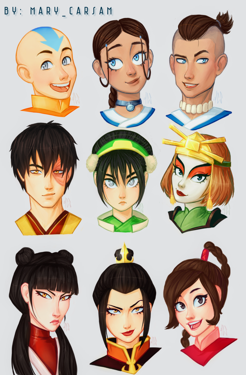 Avatar The Last Airbender Characters By Marycarsam On Deviantart