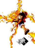 Fire Luffy render by Ferdiferrah